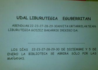 Horario de la Biblioteca de Lasarte-Oria