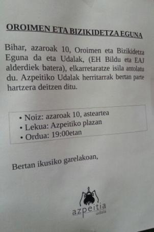 Civismo en Azpeitia