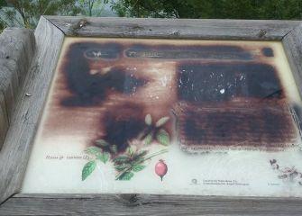 Paneles informativos pintados y rotos (Urkulu)